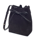 Mansur Gavriel Mini Black Suede Bucket Bag / Shop Super Street - 4