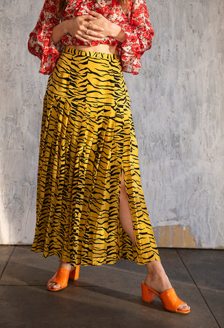 Tina Tiger Skirt Mustard