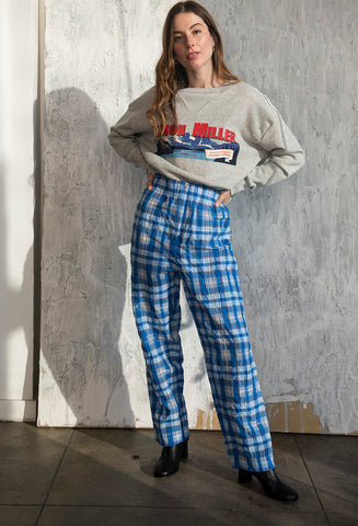 Charron Plaid Pants Lapis Blue