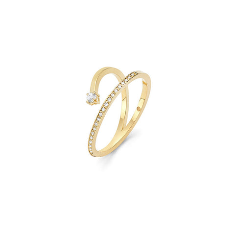 Wasson Fine 14k Gold Pave Diamond Ring with White Sapphire / Shop Super Street - 1