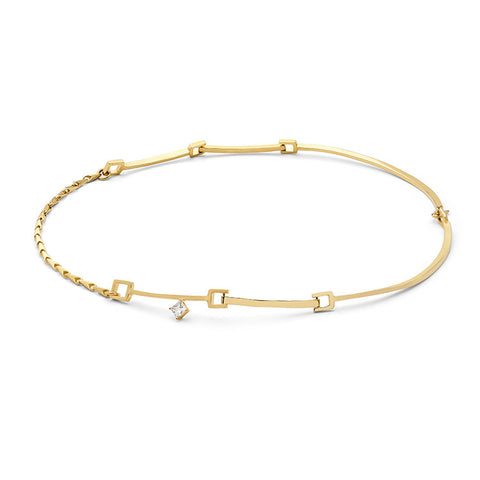 Wasson Fine 14k Gold Link and Chain Collar with White Sapphire / Shop Super Street - 1