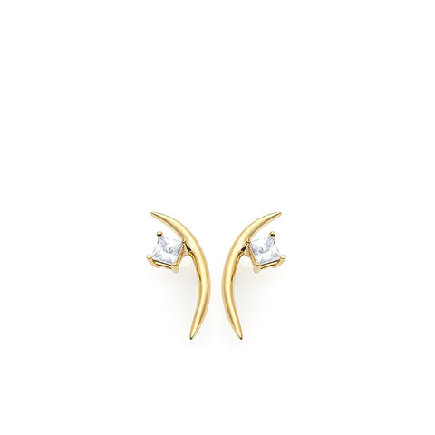 Wasson Fine 14k Thin Moon Earrings with White Sapphire / Shop Super Street - 1