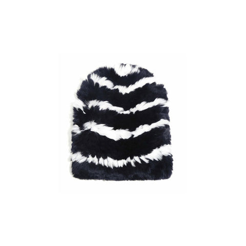 Eugenia Kim Elie Knitted Striped Fur Beanie / Shop Super Street