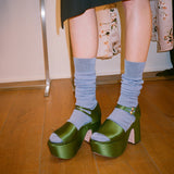 Rochas Block Satin Green Platform / Shop Super Street - 3