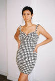 Houndstooth Bustier Dress Black/Ecru