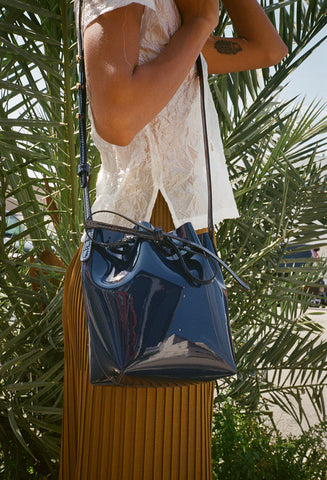 Mini Mini Blu Patent Bucket Bag