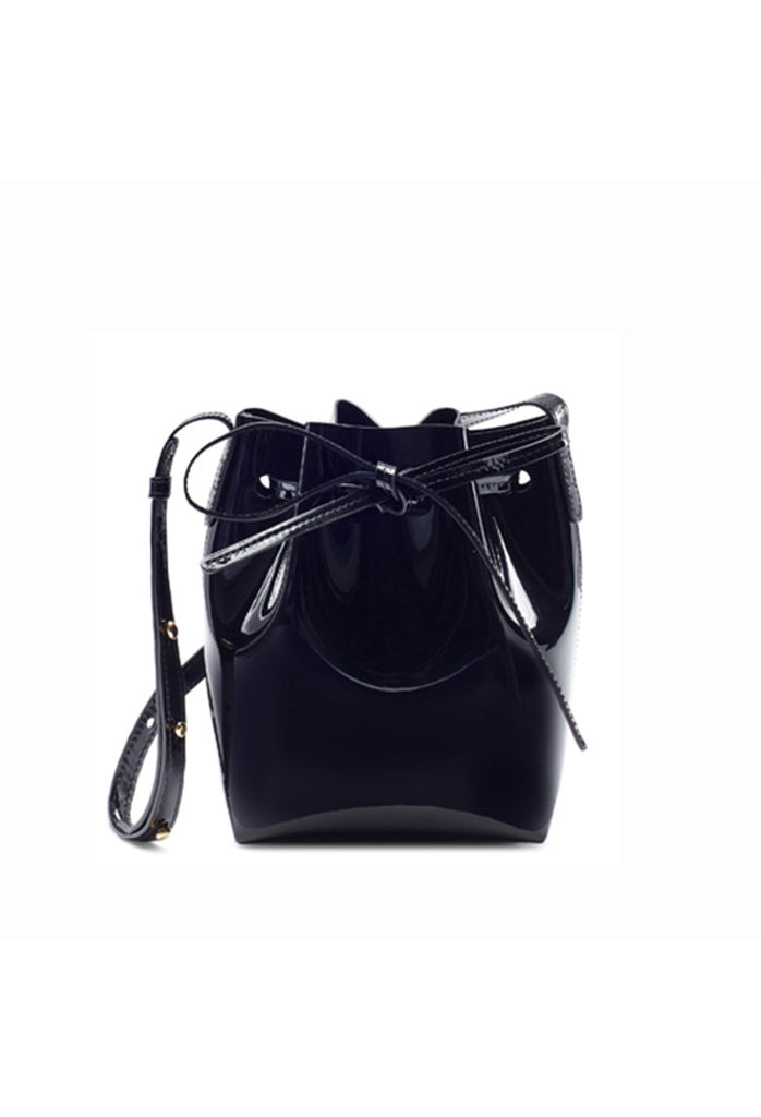 Mansur Gavriel Mini Mini Black Patent Bucket Bag