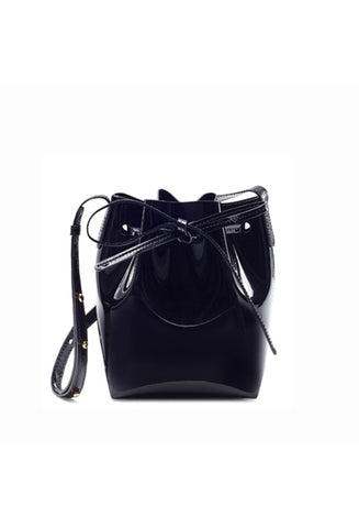 Mansur Gavriel Mini Mini Black Patent Bucket Bag / Shop Super Street - 1