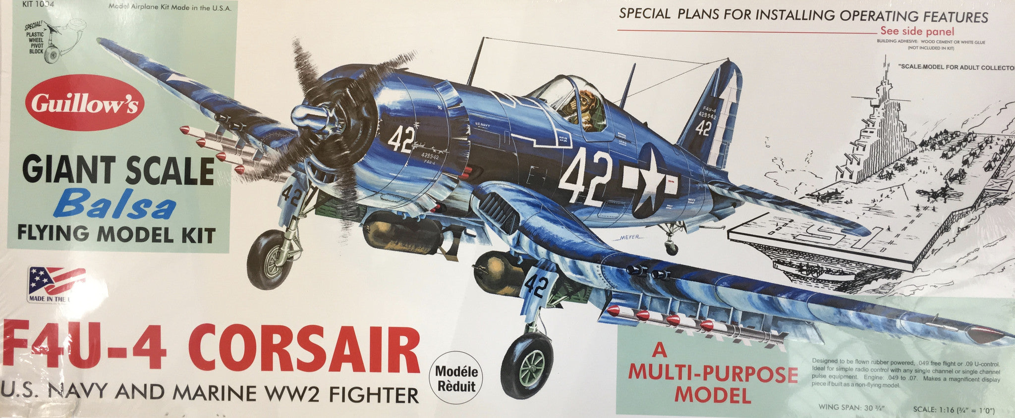 F4U Corsair Giant Scale Balsa Flying Model Kit