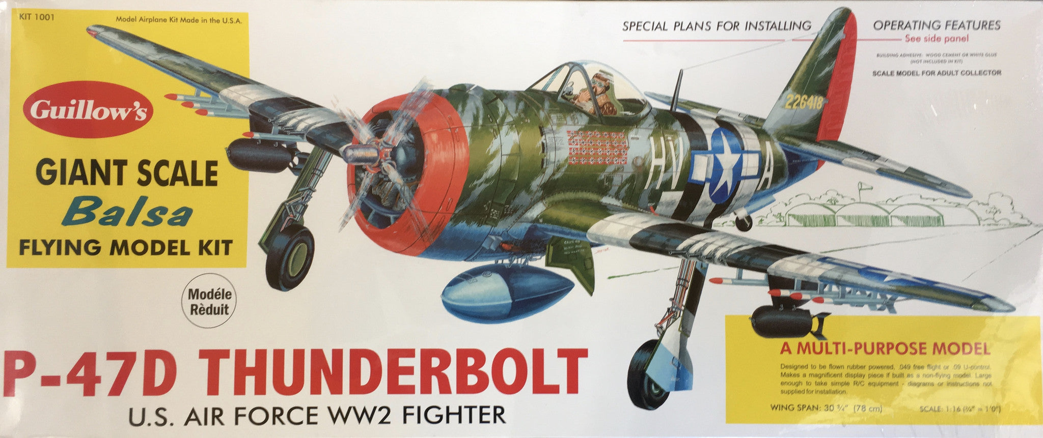 P-47 Thunderbolt Giant Scale Balsa Flying Model Kit