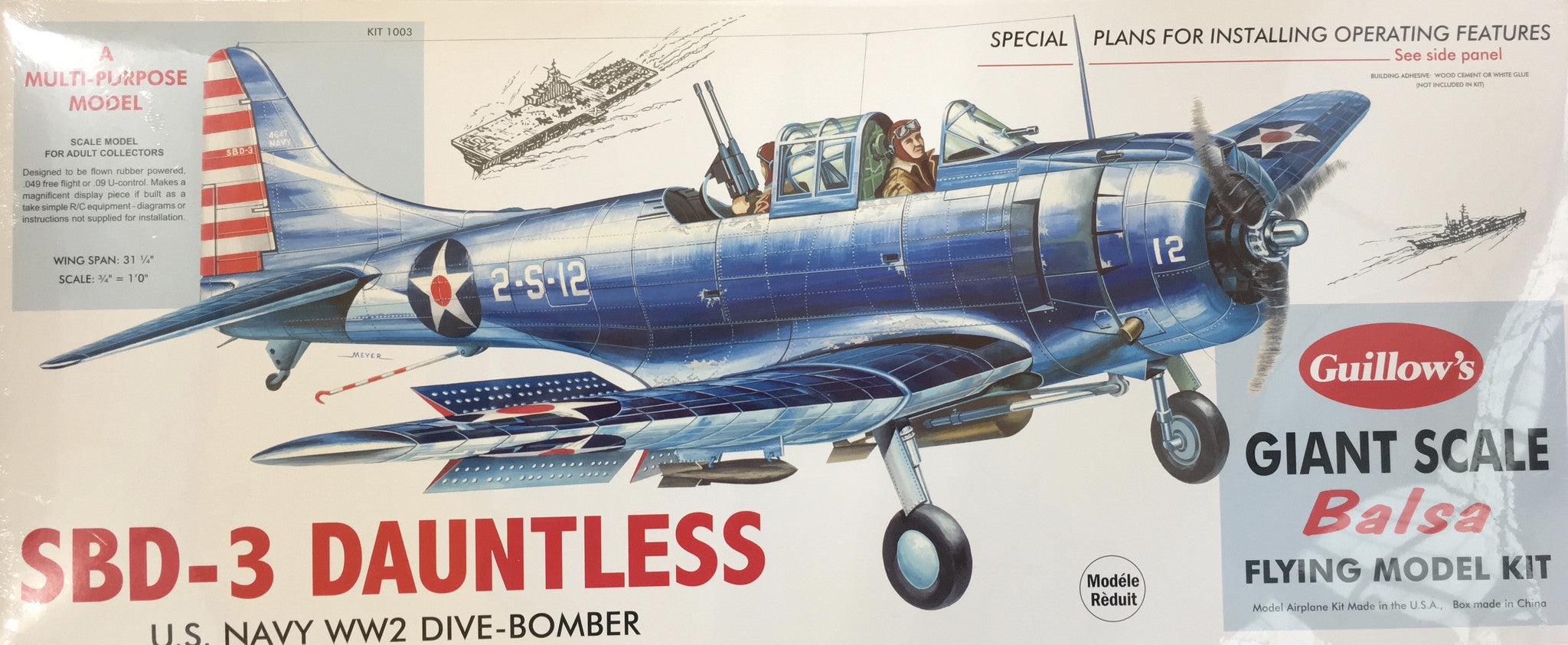 SBD-3 Dauntless Giant Scale Balsa Flying Model Kit