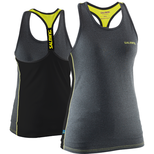 Salming T-back Tank Top - Grey Melange/Yellow/Black