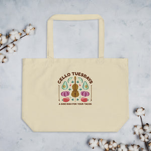 Cello Tuesdays (A Side Dish for your Tacos) Large organic tote bag