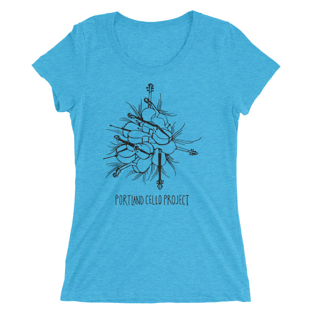 """Cello Pile"" Short Sleeve T-Shirt in multiple colors (Women's cut)"