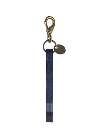 leather key fob in midnight blue