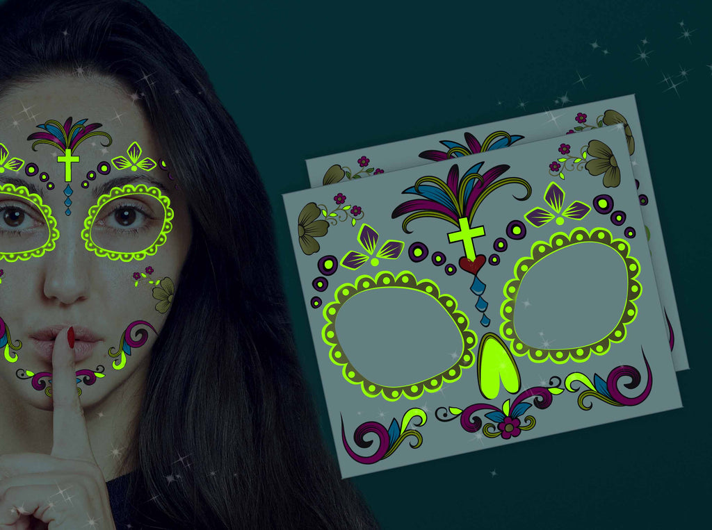 Glow-in-the-dark: Día de los Muertos face tattoo (Gold) - Kromebody