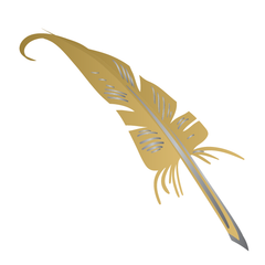 Harry Potter: Feather Quill Pen (Gold & Silver) - Kromebody