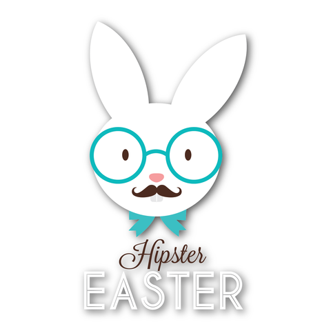 Hipster Easter White Rabbit - Kromebody