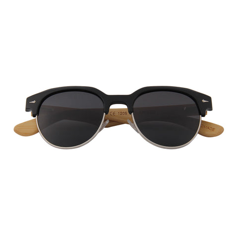 Bamboo Wood Retro-shade Browline Sunglasses