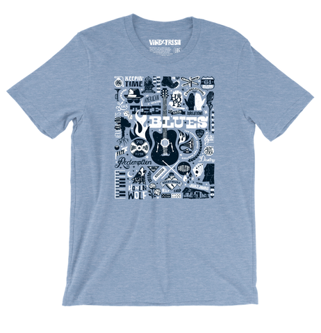 The Blues - Men's Unisex Heather Blue Short Sleeve T-shirt
