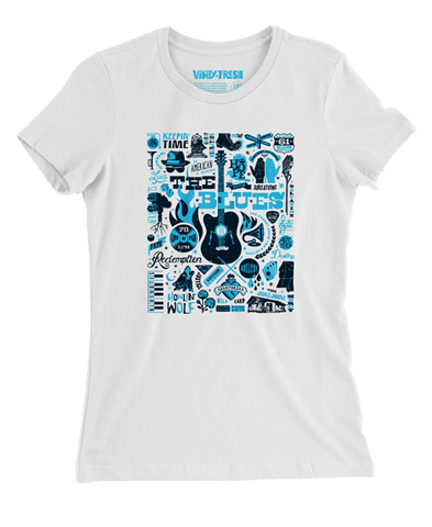 The Blues - Women's White Crew Neck SS T-shirt