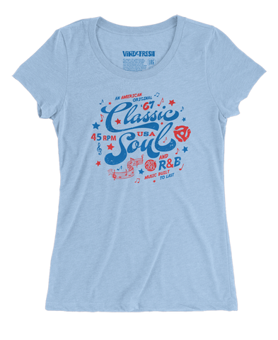 Classic Soul - Women's Triblend Blue Scoop Neck SS T-shirt