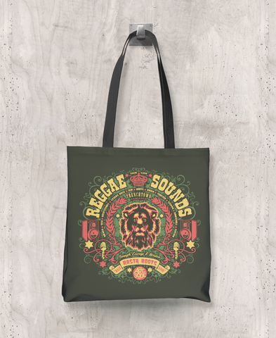 Reggae Sounds - All-Over Printed Poly Tote Bag (Olive)