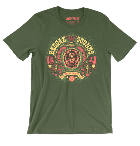 Reggae Sounds - Men's Unisex Olive Short Sleeve T-shirt