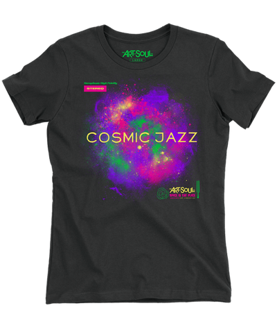 Cosmic Jazz - Women's Black Short Sleeve Boyfriend T-shirt