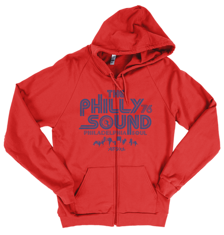 The Philly Sound 76 - Unisex Red Fleece Zip Hoodie