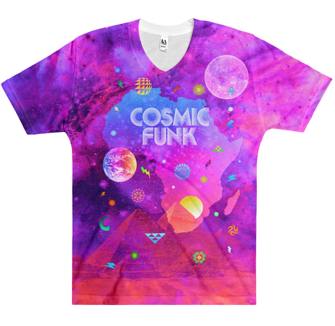 Cosmic Funk - Men's All-Over-Printed Short Sleeve V-Neck T-shirt