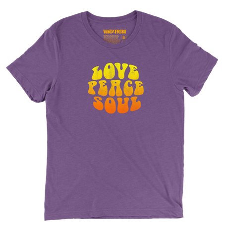 Love Peace Soul - Men's Unisex Triblend Purple Short Sleeve T-shirt