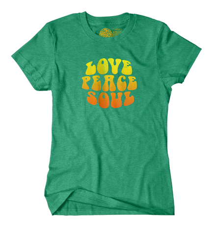 Love Peace Soul - Women's Heather Green Short Sleeve T-shirt