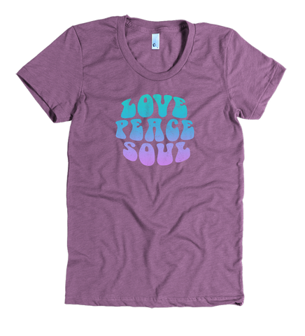 Love Peace Soul - Women's Poly-Cotton Heather Plum Short Sleeve T-shirt