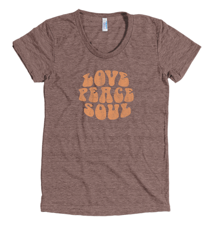 Love Peace Soul - Women's Tri-Blend Coffee Short Sleeve Track T-shirt