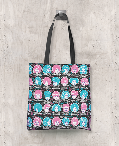 Glamorama - All-Over Printed Poly Tote Bag (Black)