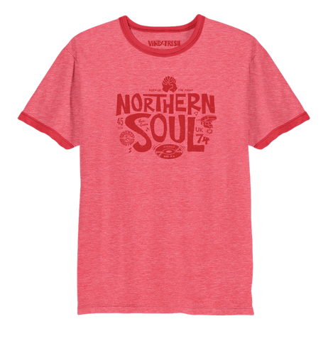 Northern Soul 74 - Men's Heather Red Short Sleeve Ringer T-shirt