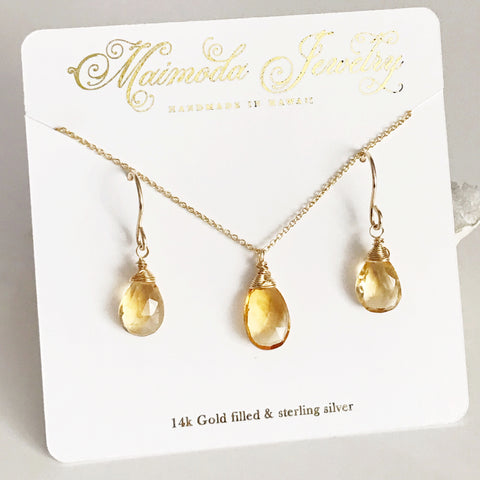 Citrine jewelry set (S107)