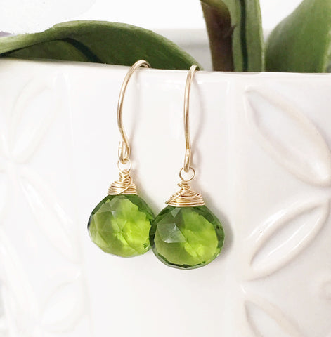 Earrings Kala - Peridot quartz (E307)