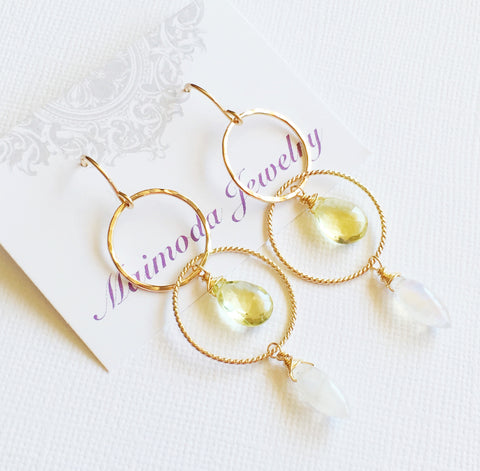 Moonstone & lemon topaz  earrings (E241)