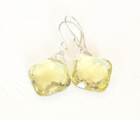 Lemon Quartz Cushion Cut Earring (E155)