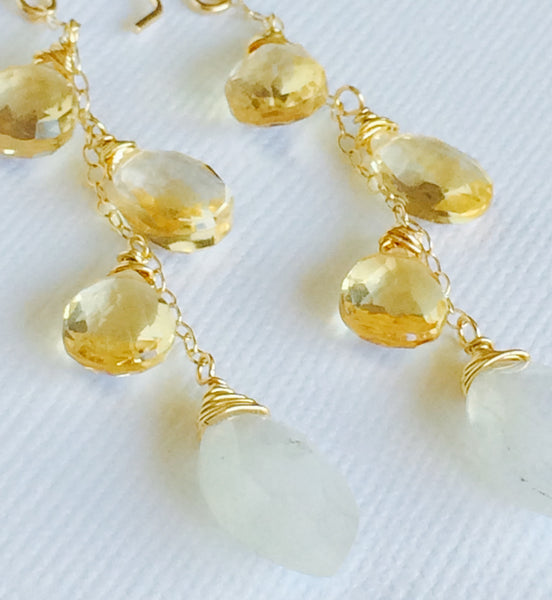 Citrine and moonstone earring (E290)