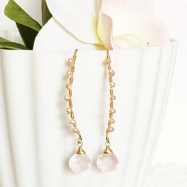Earrings Ailani - Rose quartz (E189)