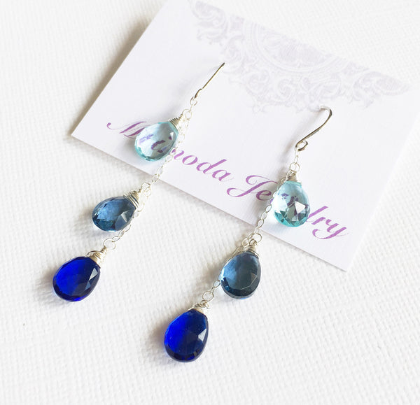 Earrings Adele - blue quartz (E299)