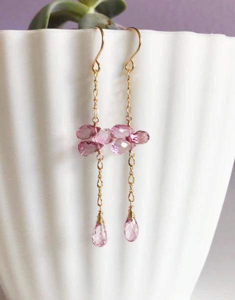 Earrings LEILA - Pink topaz earrings (E452)