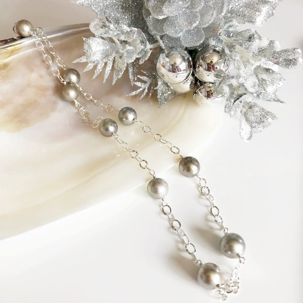 Necklace LEILANI - silver tahitian pearls (N273)