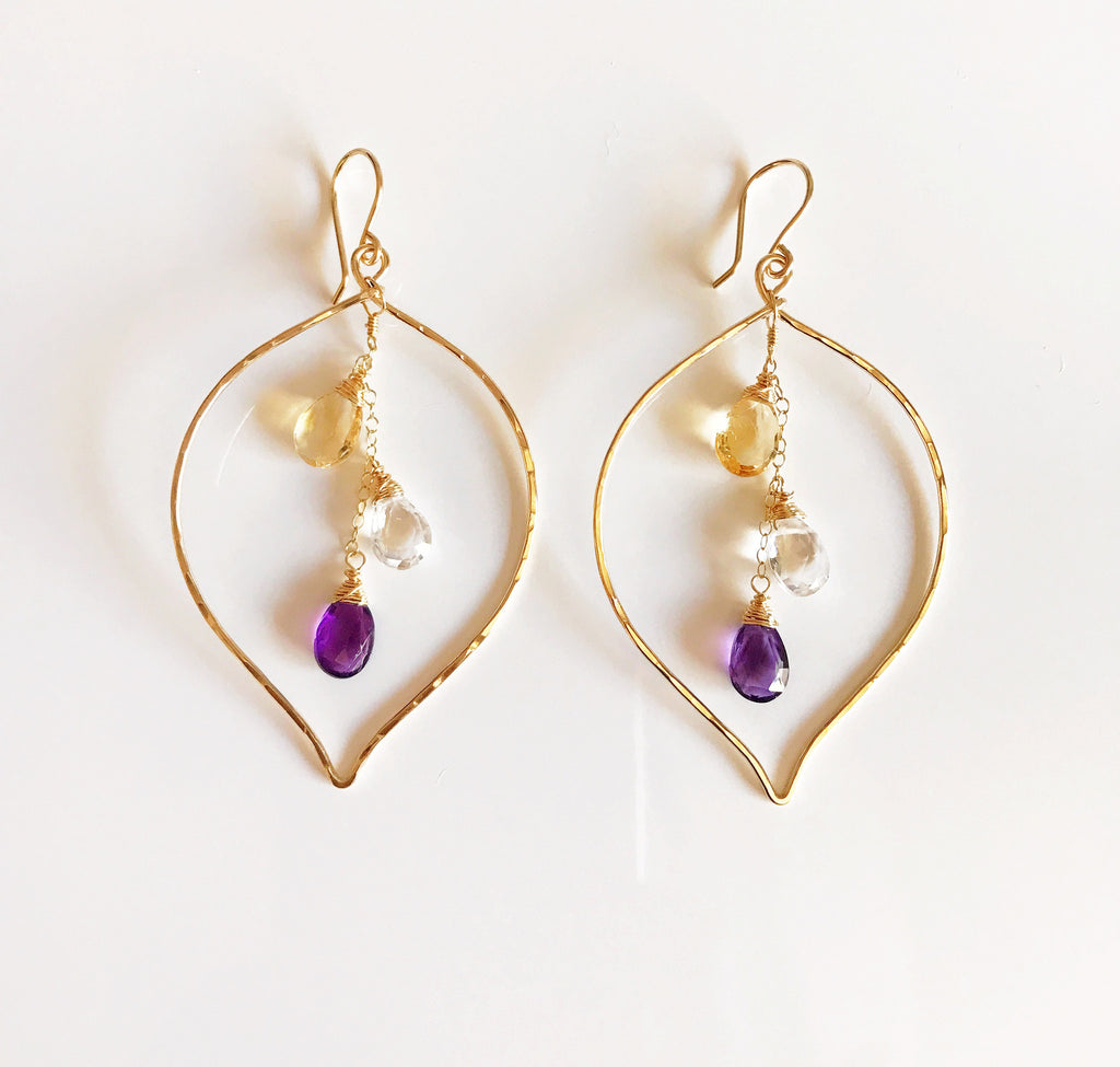 Earrings Yuri - amethyst/crystal quartz/citrine  (E103)