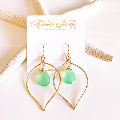 Earrings Doree - mint chalcedony (E347)