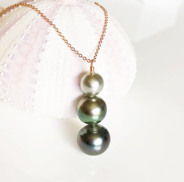 Necklace Arya - triple tahitian pearls necklace (N176)