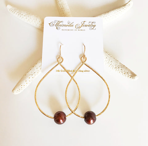 Earrings Molly - chocolate pearl (E351)